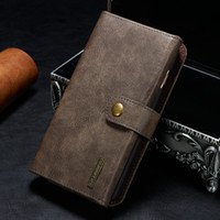 Wholesale Leather Folding Phone Wallet Case - 3 Fold Detachable Wallet Case For iPhone 6 7 7Plus Samsung s7 Huawei P9 Mate 9 SONY 2in1 Genuine Leather Phone Case Multi-function
