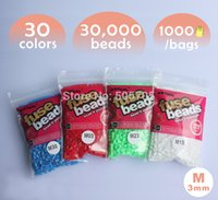 Wholesale 3d Free Bead Toys - Wholesale-free shipping 30,000 beads 30 colors 3mm mini hama beads 1 pegboard 1000pcs bag color artkal beads educational toys