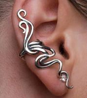 Wholesale Earring Bone Hook - Wholesale-2016 New Fashion 1 Pc Cobra Shape Ear Cuff Hook Gothic Punk Style Ear Bone Clip Earrings Girls Jewelry Bronze Silver Colors