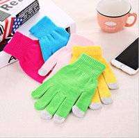 Wholesale gloves for mobile - Universal Soft Mittens For Men And Women Elastic Gloves Winter Mobile Phone Touch Screen Glove Pure Color 1 6ms B