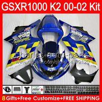 Wholesale Movistar Tops - 8gifts Movistar blue Body For SUZUKI GSXR1000 00 01 02 GSX-R1000 72NO21 GSX R1000 K2 GSXR-1000 GSXR 1000 2000 2001 2002 TOP Movistar Fairing