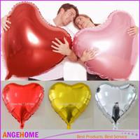 geburtstag herz ballons großhandel-30inch 75cm Love Balloons - 6 Farben Heart Shaped Folie Ballon Große Hochzeit Geburtstag Dekoration Luft Ballons Party Supplies