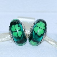 Wholesale Wholesale Irish Charms - 5pcs 925 Sterling Silver Loose Bead KISS ME, I'M IRISH Murano Glass Charm Lampwork Bead Fit European Jewelry Bracelet Necklaces & Pendants