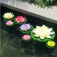 ingrosso serbatoio di loto-Diametro artificiale del fiore di 29CM che galleggia sulla piscina di acqua per la decorazione del carro armato di pesce bianco rosa rosso arancio colore verde porpora