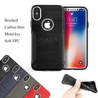 Wholesale Carbon Fiber Key Case - New Arrival For iPhone X 8 7 6S Plus Samsung S8 Note 8 Brushed Carbon Fiber Electroplate Metal Key TPU Shockproof Case Cover