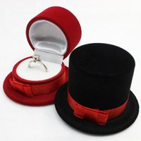 Wholesale Hat Container - Cute gentleman hat Velvet Jewelry Boxes Organizer Ring Pendant Storage Case Holder Container Birthday Xmas Gift Packaging Box