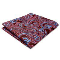 lenço marrom venda por atacado-QH2 Lenço Paisley Brown Azul Rosa Bolso Quadrado Dos Homens Gravatas Jacquard Tecido Lenços