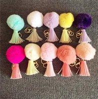 Wholesale Color Car Leather - Popular Pompoms Keychain Rabbit Fur Ball Keychain Gift Genuine Rabbit Fur Pendant Phone Tassel Fur Pompom Accessory DHL free 100pcs 16 color