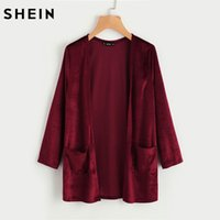 Wholesale Long Sleeve Collarless Coat - Wholesale- SHEIN Pocket Front Velvet Coat Autumn Coats for Women Plain Burgundy Collarless Long Sleeve Open Front Casual Coats