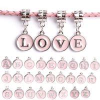 Wholesale European Beads Charm Letters - 2016 New Silver Beads Charm Pink 26 Letter Glaze Pendant Beads Charms Fit Diy Women Diy European Bracelets & Bangles