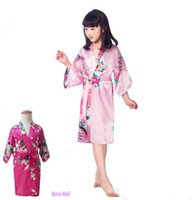 Wholesale Child S White Satin Dress - Kids Robe Satin Small Children Kimono Robes Bridesmaid Gift Flower Girl Dress Silk Bathrobe Nightgown Kimono robe 7 Sizes LC416-2