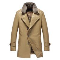 Wholesale Mink Skin Coat - Fall-Leather suede men genuine leather jacket single leather coat cow skin mink fur collar high end quality New Phoenix