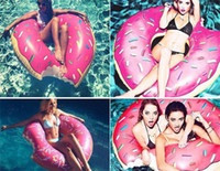 Wholesale 10pcs fashion cm Gigantic Donut Swimming Float Inflatable Swimming Ring Adult pool floats colors beach and swimming toy D820