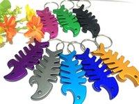 Wholesale Wholesale Aluminum Keychain Bottle Openers - New Creative Keychain Bottle Opener New Colorful Aluminum Bottle Opener Bottle Fish Bone Shaped Bottle Opener Keychain