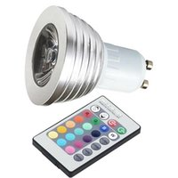 Wholesale flash key - Color Changing RGB LED Flash Spot Light 3W GU10 Bulb with 24 key Remote Mood