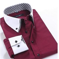 Wholesale Double Collar Shirt Men - 2016 New Brand Fashion Men Blouse Hot Sell Casual Long-Sleeved Men Shirt Drying Breathe Freely Men Shirt