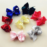 "Wholesale Stoned Hair Bow Wholesale - 3.5"" girl boutique Layer Satin Ribbon Bow with stone 50pcs"