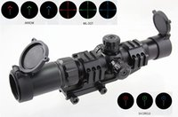 iluminado reticular rifle escopos venda por atacado-1.5-4X30 Tri-Iluminado Mil Dot / Ferradura / Chevron Reticle Scope com Torres de Travamento