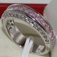 Wholesale Pink Cz Wedding Ring Sets - Eternity Women Pink Diamonique CZ Silver Wedding Overlay Band Ring Free Shipping size 6 7 8 9 10 11