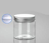 ingrosso grandi bottiglie di plastica-200 g di flacone di PET trasparente con coperchio di alluminio, 200 g di cosmetici trasparenti all'ingrosso di confezioni, vasetti di plastica vuota per cosmetici da 200 g