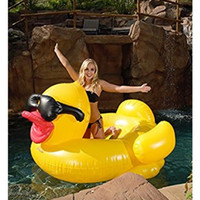 Wholesale Kids Ride Toys Wholesale - 200cm Inflatable Yellow Sunglasses Duck Giant Pool Float Ride-On Swimming Ring Pool Party Summer Inflatable Beach Toys Kids Adult Holiday