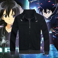 Wholesale Sword Art Online Sao - Wholesale-Japanese Anime SAO Sword Art Online Kirito Kirigaya Kazuto Cosplay Costume Coat Jacket Thick Winter Warm Sweater Sweatshirts