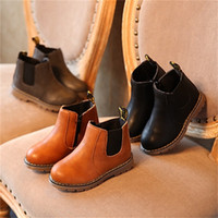 ingrosso scarponi da bambino marroni-Kids Autumn Baby Boys Oxford Scarpe per bambini Dress Boots Ragazze Fashion Martin Boots Toddler PU Leather Boots Nero Marrone Grigio EU21-36