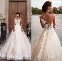 Wholesale Sleeveless Illusion Lace - Vintage 2016 Lace Wedding Dresses Illusion Sheer Formal Arabic 2017 Bridal Gowns With Crew Neck Sleeveless Berta Wedding Gowns