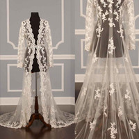 Wholesale White Wedding Coats - 2018 Lace Bridal Jackets Long Sleeves Bridal Coat Sweep Train Wedding Capes Wraps Bolero Jacket Wedding Dress Wraps Shrugs Hot Sale