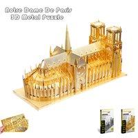Wholesale Diy Notre Dame - Wholesale- PieceCool 3d Metal Puzzle of Notre Dame De Paris Silver & Gold Color DIY 3D Assembled Architectural Model Jigsaws for Kids Toys