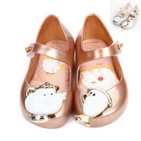 Wholesale Dress Shoes Girl Bow - New Spring Girls Princess Leathers Shoes Beauty And Beast Melissa Party Shoes Sandals Children Kids PVC White Gold HH-S29