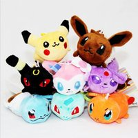 Wholesale Keychains Children Wholesale - 8pcs Cartoon Pokechu plush toys keychains POKE Stuffed Animals 8cm Strap Keychain Children best gift 8 styles
