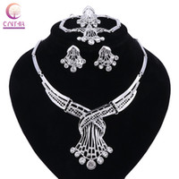 Wholesale color beads bracelet for sale - Group buy Women Silver Color Nigerian Wedding African Beads Jewelry Set Crystal Saudi Jewelry Sets Necklace Bracelet Earring Ring Sets