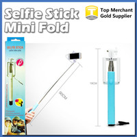 Wholesale aluminum alloy selfie monopod - Selfie stick cable take pole Fold one Monopod wired Extendable Handheld Built in Shutter and Clip for IOS iPhone Samsung Smart phone