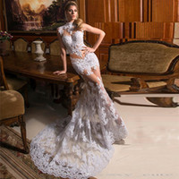 Dress Gowns for sale - 2017 Sexy White Mermaid Evening Dresses High Neck Sleeveless Appliques Lace Tulle Illusion Summer Formal Evening Gowns Women Wears