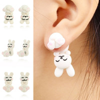 2PCS Handmade Polymer Clay White Rabbit Stud Earrings For Women Moda Animal brincos Piercing Earring Jewelry Bijoux