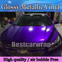 carros metálicos venda por atacado-Meia-noite roxo brilhante envoltório de vinil metálico carro envoltório com bolha de ar Livre brilhante metálico envoltório de doces roxo filme Tamanho: 1.52 * 20M / Roll