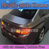 Wholesale Matte Carbon Fiber Sticker - Anthracite Matte Metallic Vinyl Wrap With Air Bubble Free Dark Grey Gunmetal Matt Chrome metallic Vehicle Wrapping size 1.52x20m   5x66ft