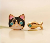 Wholesale Diamond Fish Jewelry - Cute Cat Fish Blue Diamond Earrings Stud Gold Plated Small Jewelry Small Cat and Fish Asymmetrical Earring