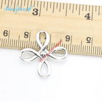pulseras del encanto de china al por mayor-15 unids / lote Antique Silver Plated Cross China Knot Charm Necklace Necklace Pulseras para la Fabricación de Joyas DIY Handmade Craft 23x23mm