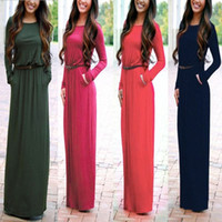 Wholesale Long Sleeved Chiffon Maxi Dress - S-XL Plus Size Woman Dress Autumn 2016 High Quality Maxi Dress Pocket Long Sleeved Casual Ladies T shirt Dresses With Belt