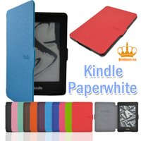 Wholesale kindle fire cases pink - PU Leather Case for Kindle Paperwhite Pouch Cover 6 inch 6inch Ultra-slim Smart Flip Cover with Magnetic for Fashion Luxury Colorful