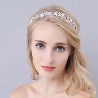 alin taç takı toptan satış-Kristal Kafa Düğün Saç Aksesuarları Gelin Taklidi Saç Klipler Başlığı Alın Takı Tiara Gelin Rhinestone Saç Barrette Için