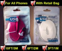 Wholesale Iphone Noodle Chargers 3m - Micro USB Cables 3m 10ft 2m 6ft 1m 3FT Noodle Flat USB Cable Charging Cord Charger Line colorful V8 Cable Line Samsung
