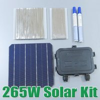 Wholesale Tab Solar Cell - cell tabbing hot sale 265W DIY Panel Kit 6x6 156 Monocrystalline Mono solar cell tab wire Bus wire Flux pen