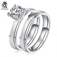 Wholesale Brilliant Steel - Brilliant Cut Engagement Wedding Cubic Zircon Ring Set Trendy Stainless Steel Luxury Rings For Women GTR20