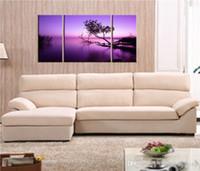 imagen del árbol de tres paneles al por mayor-Combinación de tres imágenes Púrpura claro Árbol negro Resumen Impresión al óleo Decoración de moda moderna Pintura en sala de estar sin marco