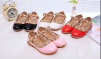 Wholesale Hot Pink Heels Wholesale - 2015 new Korean Hot Children's shoes Girls Leather shoes Princess Rivet Dance Shoes Kids Low-heeled Flats 2016 free shipping