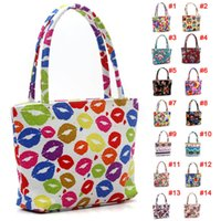 Wholesale White Beach Bags Wholesale - Wholesale- Fashion Girl Lovely Canvas Handbag Women Daily Single Shoulder Handbag Female Canvas Beach Bag Printed Bags LBY2017