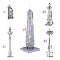Wholesale Empire State Building 3d - 3D Metal Puzzle Mix-Lot Space Needle Center Empire State Building World Trade Center Tower of the Americas DIY 3D Metal Model Buildi OTH576